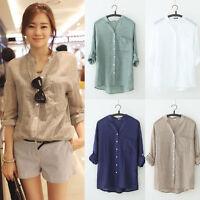 Fashion Women Flax 3/4 Sleeve V Neck Cotton Linen Denim Loose Top Blouse T-shirt