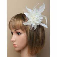 Cream white fascinator comb flower with feather tendrils