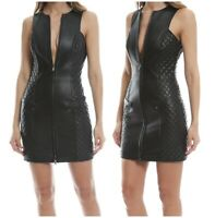 Women Genuine Leather Quilted Dress Mini Zip Front Sleeveless Bodycon LederDress