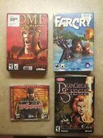 4 PC Games Far Cry Wolfentein Dungeon Siege Rome Total War