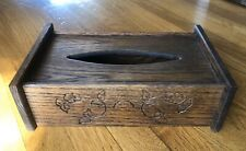 Vintage Solid Dark Wood Tissue Cover Box with Carved Flower Detail PRETTY
