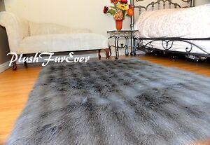 Rectangle Plush Area Rug Silver Gray Raccoon Faux Fur Lodge Rustic Home Decors