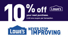 Lowes 10 percent OFF ENTIRE ORDER IN STORE 1COUPON SENT IN MINUTES EXP 7/31/2020