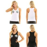 Women's Ladies Sequins Mermaid Seashell Vest Top Blouse Casual Tank Tops T-Shirt