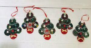 5 Homemade Ornaments Rustic Primitive Farmhouse Fabric & Button Christmas Trees