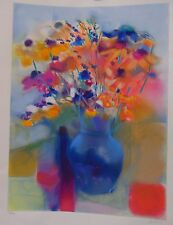 BLUE VASE w/FLOWERS- DAN PARTOUCHE - LITHOGRAPH- PENCIL SIGNED& NUMBERED- 56/300