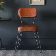 HAIRPIN DINING / CAFE CHAIR / UPHOLSTERED  INDUSTRIAL RETRO TAN LEATHER