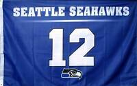 12th Man Banner Flag Sign 2' x 3' polyester Metal grommets Seattle Seahawks