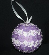 Handmade Purple Scalloped Filigree Design Pearl Christmas Ornament Ball Sb22