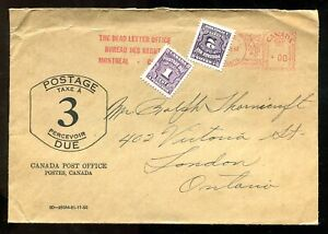 p172 - MONTREAL 1952 Dead Letter Office Postage Due Cover