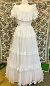 Vintage Retro White Bo Peep Wedding Dress Under skirt & train 1980s? Size 14
