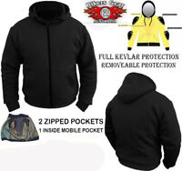 Australian Biker Gear Motorcycle Hoodie Jacket Fully lined with Kevlar CE Armour