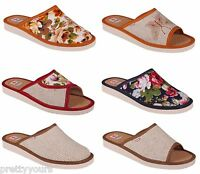 Womens comfort luxury slippers Genuine cowhide natural Leather closed toe UK 3-8