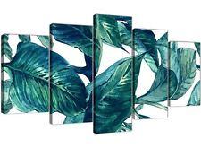 XL Color Foglia Di Tè Blu Verde Tropicale esotico FOGLIE A Muro Art-SPLIT 5 Set - 5325