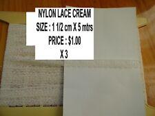 NYLON  LACE IN CREAM 1 1/2 CM X 5 MTRS