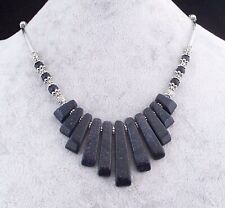 Sparkling Blue Sandstone 11 Stone Silver Bead Necklace.Handmade In Gift Box