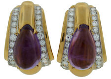 Vintage c.1970s DAVID WEBB AMETHYST DIAMOND YELLOW GOLD EARRINGS Signed Authenti