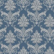Dolls House Miniature Grey On Blue Leaf Damask Wallpaper