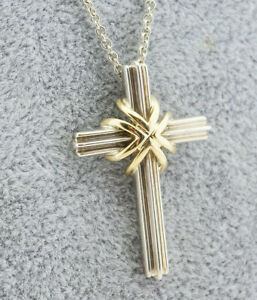 Stunning Tiffany & Co Silver And Gold .925 & .750 Chain And Crucifix - 8.0 Grams