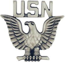 """United States Navy Enlisted Eagle Badge Lapel / Hat Pin 1-1/4"""" Pewter"""