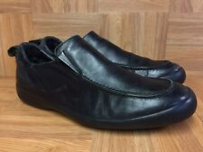 RARE🔥 GUCCI Black Leather Fashion Slip On Loafer Shoes Sz 9 D Men's Flag Emblem