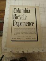 1800's COLUMBIA BICYCLE EXPERIENCE pope mfg Hartford Ct - LETTERPRESS orig