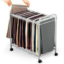 18 Pants closet Rolling Trolley Hanger Slacks Organizer Rack with Hangers NEW