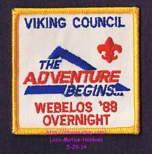 LMH PATCH Badge  1988 WEBELOS OVERNIGHT Adventure Begins BOY SCOUTS  BSA  Viking