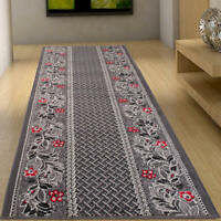 Hallway Runner Dark Grey Floral Pattern Long Hall Carpet Quality Mat Floor Rug
