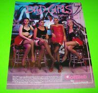 Bad Girls Pinball FLYER Original NOS Gottlieb 1988 Game Art Sheet Sexy Women