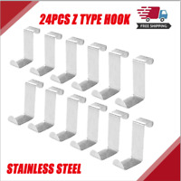 24 Pack Single Over Door Hanger Hooks Behind Back of Door stainless steel