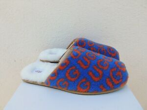 UGG SCUFF POP BLUE/ ORANGE UGG LOGO SHEEPSKIN SLIPPERS, MEN US 11/ EUR 44 ~NIB