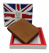 RFID SAFE Blocking Real Leather Designer Mens Wallet Contactless Card Large Zip