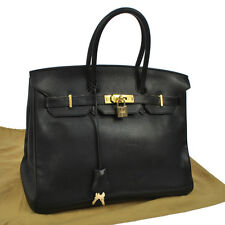 Authentic HERMES BIRKIN 35 Hand Bag Veau Evergrain Black Vintage GHW A30169