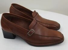 PIKOLINOS Womens Bicycle Toe Block Heel Brown Leather Slip On Shoes Size 5.5 - 6