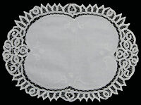 Battenburg Lace White Placemat Table Runner with Hand Embroidery 0032