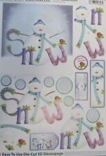 3D A4 Die Cut Paper Tole Decoupage Christmas Snowman 1 pictures No Cutting NEW
