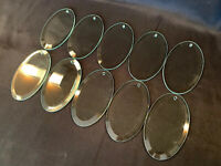 "Vintage Set Of 10 Glass Cut Chandelier Prisms Oval Shape 5""x3"""
