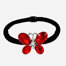 USA Butterfly Ponytail holder Elastic Rhinestone Crystal Hair Tie Rope RED 17