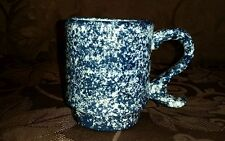 Hand Painted Navy Blue Sponge Ceramic Coffee Mug Cup signed Vintage