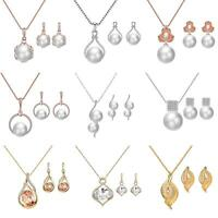 GI- Fashion Woman Wedding Jewelry Sets Rhinestone Faux Pearl Necklace Earrings G