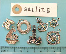 7 tibetan silver sailing boat charms binoculars life ring anchor compass rudder