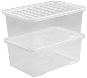 5Pieces, Plastic Transparent WHAM Crystal 37 Litres Clear Storage Box With Lid