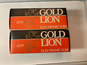 Matched Pair 1979 Gold Lion KT-77 Power Tubes New Old Stock Unused Made In UK.