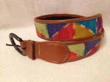 Vintage 90's Retro Multicolored Geometric Leather Belt Size 28 Rainbow Hip Hop