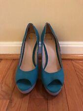 ELLE turquoise peep toe pumps