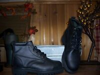 WESTERN CHIEF STEEL TOE LEATHER WORK BOOTS SIZE 7D BLACK SAFETY SHOES MENS BOOTS