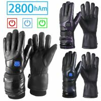 Motorcycle Heated Gloves Electric Motorbike Winter Warm Riding Gloves PU Leather