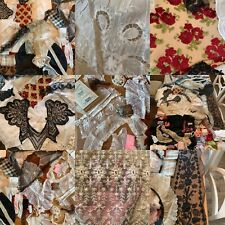 Lg Lot Antique Lace,Fabrics,Trims,Ribbon s,Victorian Beaded Collar,Eyelet,Textile