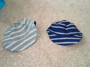 Gap grey blue stripe hat cap x 2 12-18 months BNWT
